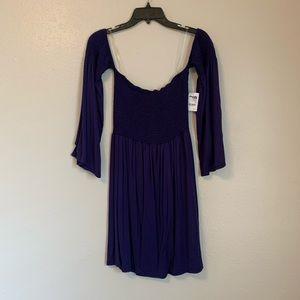 Navy Off-The-Shoulder Dress